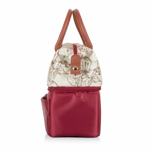 Urban Lunch Bag, Burgundy with Floral Pattern Perspective: top