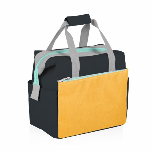 On The Go Lunch Cooler, Mustard Yellow with Gray & Blue Accents Perspective: top