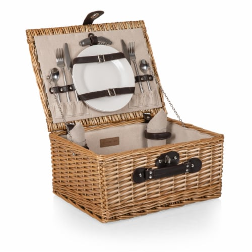 Classic Picnic Basket, Beige Canvas Perspective: top