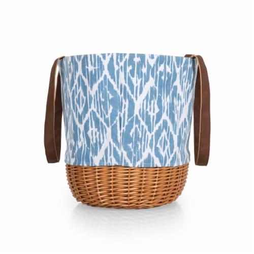 Coronado Canvas and Willow Basket Tote, Moroccan Watercolor Pattern Perspective: top