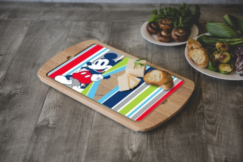Disney Mickey Mouse - Billboard Glass Top Serving Tray, Rubberwood Perspective: top
