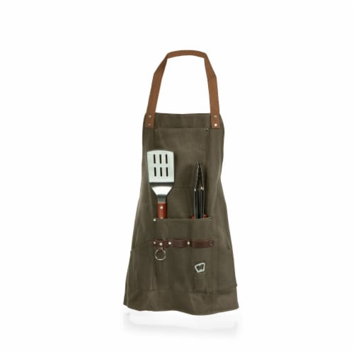 BBQ Apron with Tools & Bottle Opener, Khaki Green with Beige Accents Perspective: top