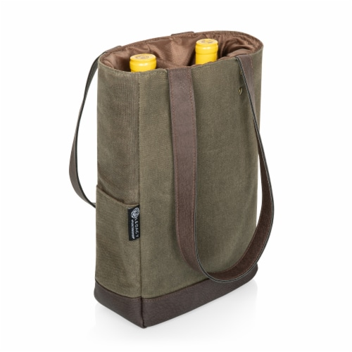 2 Bottle Insulated Wine Cooler Bag, Khaki Green with Beige Accents Perspective: top