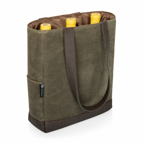 3 Bottle Insulated Wine Cooler Bag, Khaki Green with Beige Accents Perspective: top