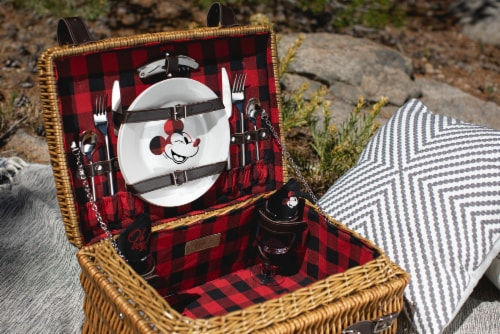 Disney Mickey Mouse - Champion Picnic Basket, Red & Black Buffalo Plaid Pattern Perspective: top