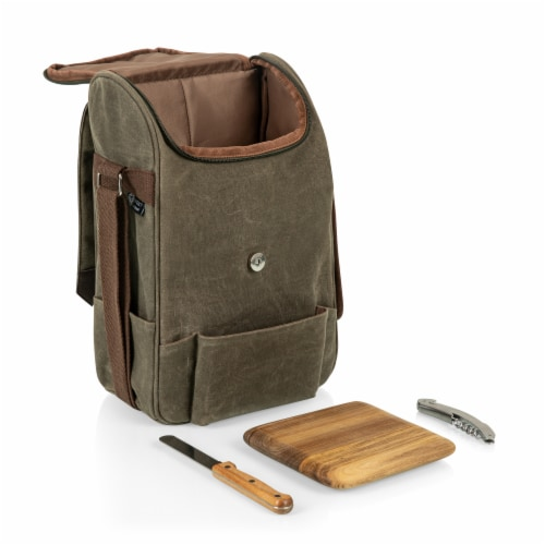 2 Bottle Insulated Wine & Cheese Cooler with Cheese Board, Knife & Corkscrew, Khaki Green Perspective: top