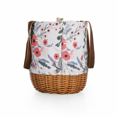 Coronado Canvas and Willow Basket Tote, Floral Pattern Perspective: top