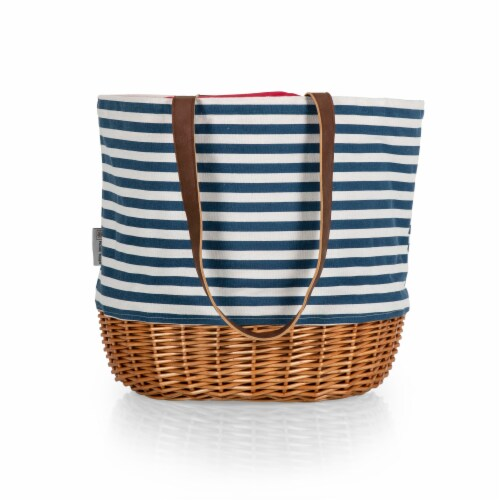 Coronado Canvas and Willow Basket Tote, Navy Blue & White Stripe Perspective: top