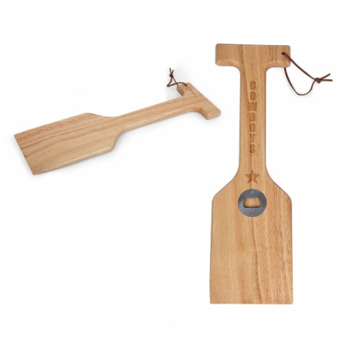 Dallas Cowboys - Hardwood BBQ Grill Scraper with Bottle Opener Perspective: top