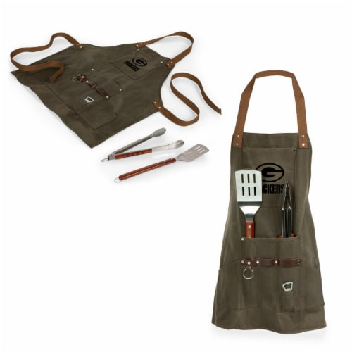 Green Bay Packers - BBQ Apron with Tools & Bottle Opener Perspective: top