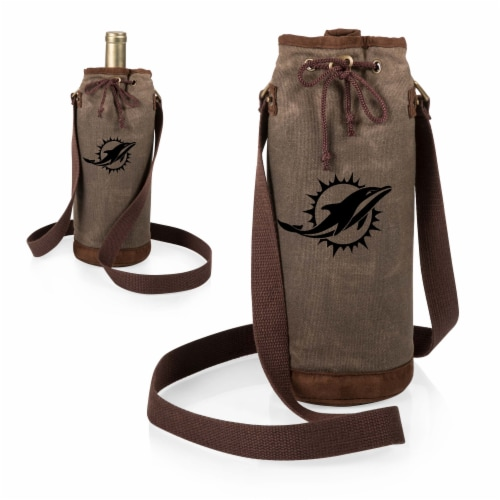 Miami Dolphins - Waxed Canvas Wine Tote Perspective: top