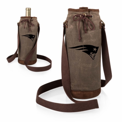 New England Patriots - Waxed Canvas Wine Tote Perspective: top