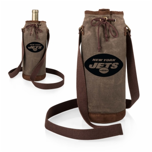 New York Jets - Waxed Canvas Wine Tote Perspective: top