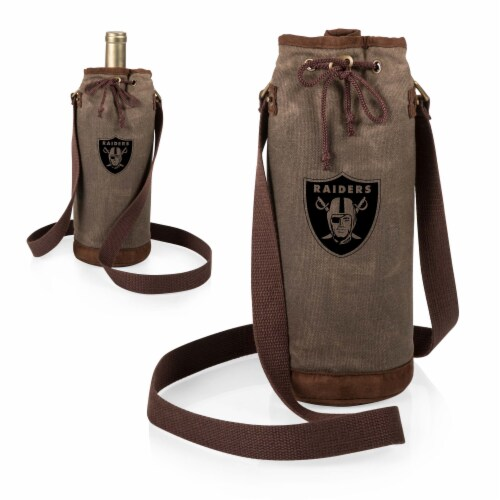 Las Vegas Raiders - Waxed Canvas Wine Tote Perspective: top