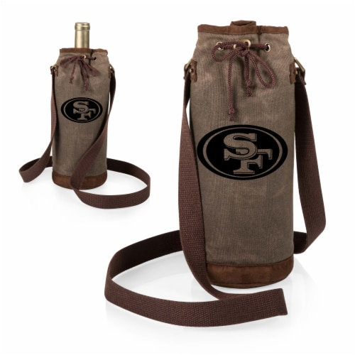 San Francisco 49ers - Waxed Canvas Wine Tote Perspective: top
