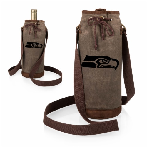 Seattle Seahawks - Waxed Canvas Wine Tote Perspective: top