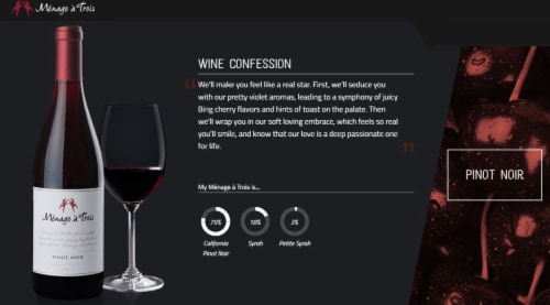 Menage a Trois Pinot Noir Red Wine 750mL Bottle Perspective: top