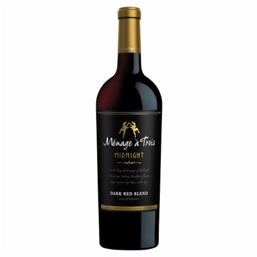 Menage a Trois Midnight Dark Red Wine Blend 750mL Wine Bottle Perspective: top