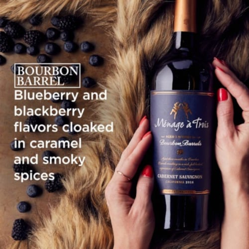 Menage a Trois Bourbon Barrel Cabernet Sauvignon Red Wine Perspective: top