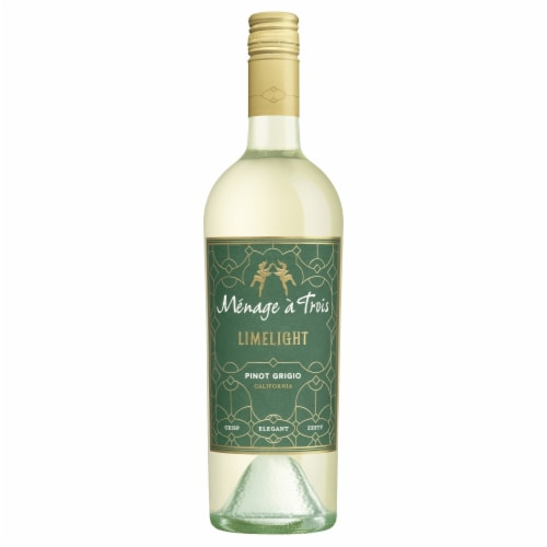 Menage a Trois Limelight Pinot Grigio White Wine 750mL Wine Bottle Perspective: top