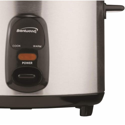 Brentwood TS-15 8 Cup Stainless Steel Rice Cooker with Measuring Cup and Spatula Perspective: top