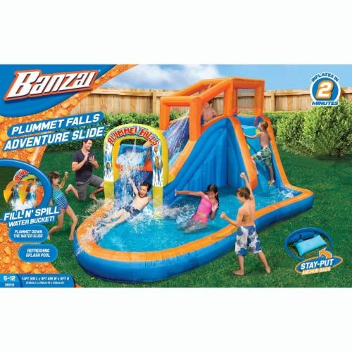 Banzai Plummet Falls Adventure Kids Inflatable Outdoor Water Park Pool Slide Perspective: top