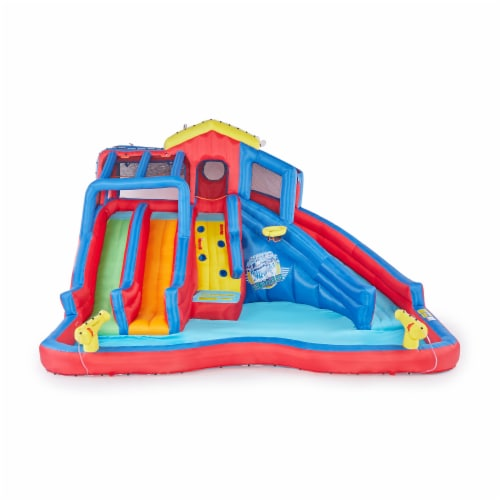 Banzai Hydro Blast Inflatable Play Water Park with Slides and Water Cannons Perspective: top