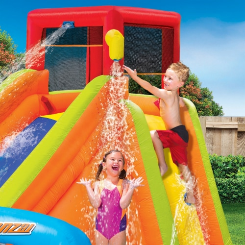 Banzai Lazy River Inflatable Outdoor Adventure Water Park Slide and Splash Pool Perspective: top