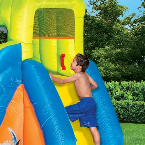 Banzai Pipeline Twist Kids Inflatable Outdoor Water Pool Aqua Park and Slides Perspective: top