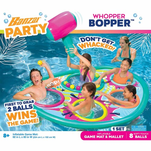 Banzai Whopper Bopper 92x60 Inch Inflatable Pool Float Game Mat and Mallet Toy Perspective: top