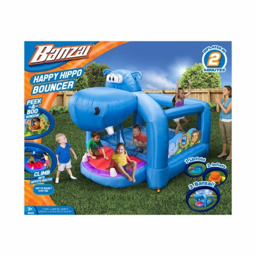 Banzai Happy Hippo Inflatable Bouncer Blow Up Bouncing House w/ Mesh Walls Perspective: top