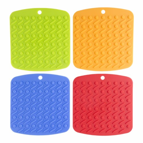 Set of 4 Pot Holders Jar Openers Garlic Peelers Spoon Rests Colorful Silicone Perspective: top