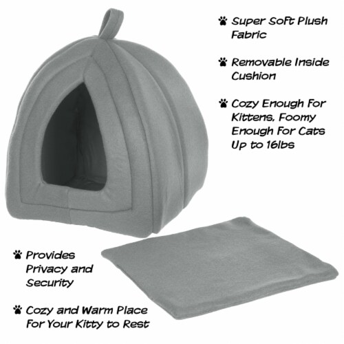 Gray Cat Pet Igloo Cave Enclosed Covered Tent House Removable Cushion Bed Perspective: top