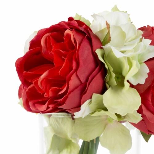 Glass Vase Artificial Hydrangea Rose Floral Arrangement Centerpiece 6.5 x 3.25 Perspective: top