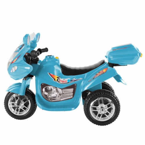 Battery Operated Powered Bike Three Wheeled Trike Motorcycle Ride On Toy 2 - 3 Yrs Blue Perspective: top