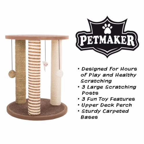 Cat Scratching Post with Perch Sisal Rope and Toys for Cats and Kittens Play Perspective: top