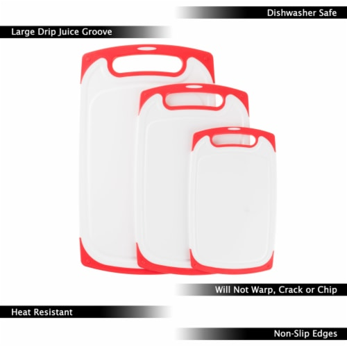 Plastic Cutting Board Set of 3 Chopping Boards Juice Groove Dishwasher Safe Perspective: top