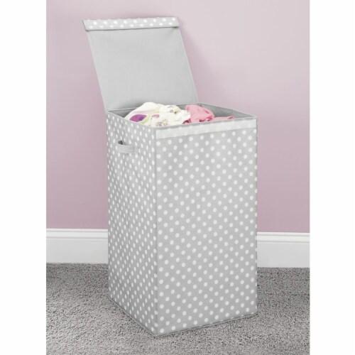 mDesign Large Laundry Hamper Basket, Hinged Lid, Polka Dot Print - Gray/White Perspective: top