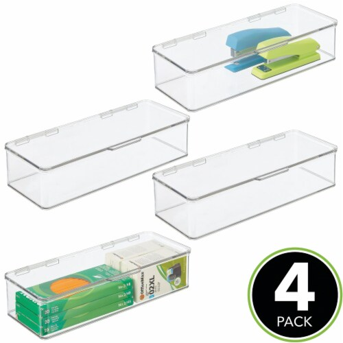 mDesign Wide Plastic Desk Organizer Box for Home Office, 4 Pack Perspective: top