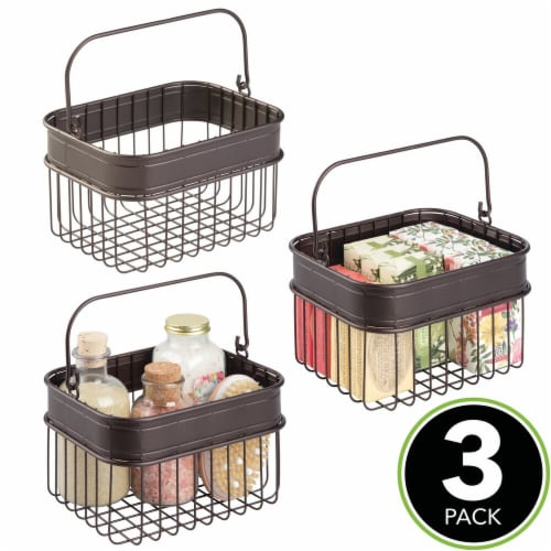 mDesign Bathroom Storage Basket Bin with Handle, Small, 3 Pack - Bronze Perspective: top
