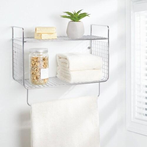 mDesign 2 Tier Storage Organizer Bath Shelf with Towel Bar, Wall Mount - Chrome Perspective: top