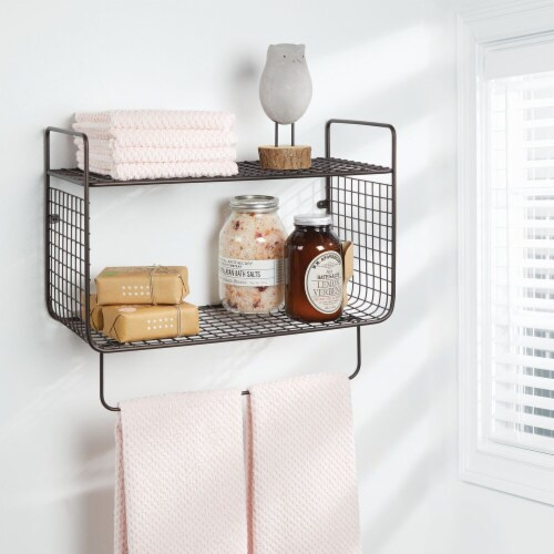 mDesign 2 Tier Storage Organizer Bath Shelf with Towel Bar, Wall Mount - Bronze Perspective: top
