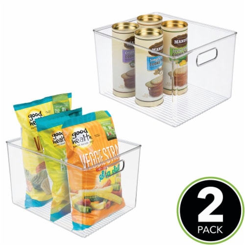 mDesign Plastic Storage Organizer Large Kitchen Container Bin - 2 Pack - Clear Perspective: top