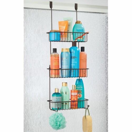 mDesign Metal Over Shower Door Caddy, Bathroom Storage Organizer Perspective: top