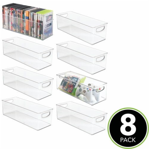 mDesign Plastic Video Game Storage Organizer Bin with Handles - 8 Pack - Clear Perspective: top