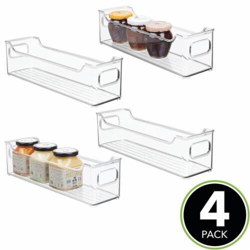 mDesign Slim Plastic Kitchen Pantry Cabinet Food Storage Bin, 4 Pack Perspective: top