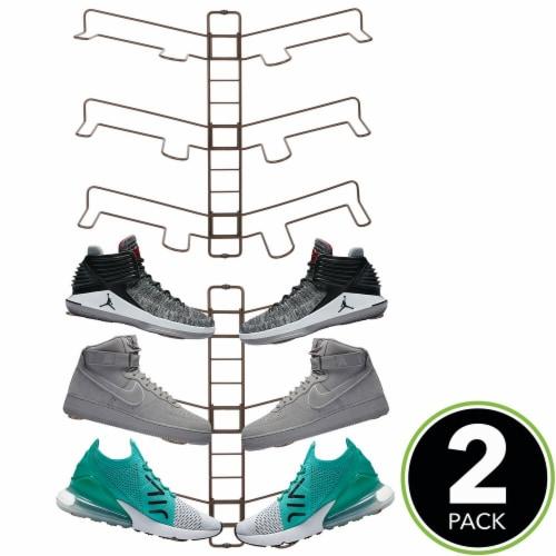 mDesign Metal Shoe Display & Storage Rack, 3 Tier, Wall Mount, 2 Pack - Bronze Perspective: top
