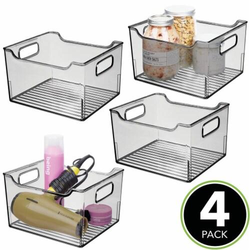 mDesign Plastic Bathroom Vanity Storage Organizer Bin, Handles, 4 Pack - Gray Perspective: top
