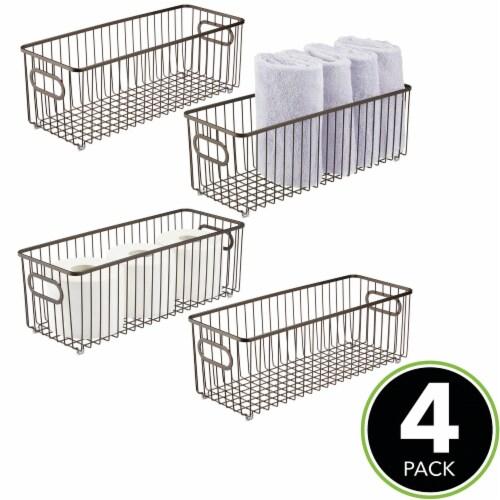 mDesign Deep Metal Bathroom Storage Organizer Basket Bin, 4 Pack - Bronze Perspective: top