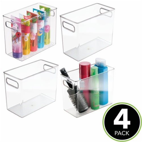 mDesign Slim Plastic Bathroom Storage Container Bin, 5  Wide, 4 Pack - Clear Perspective: top